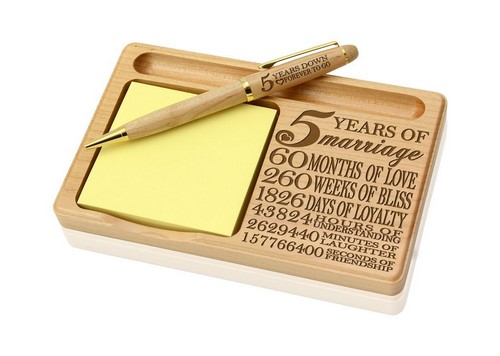 wooden notepad pen and holder