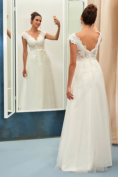 cheap v-back wedding dress uk