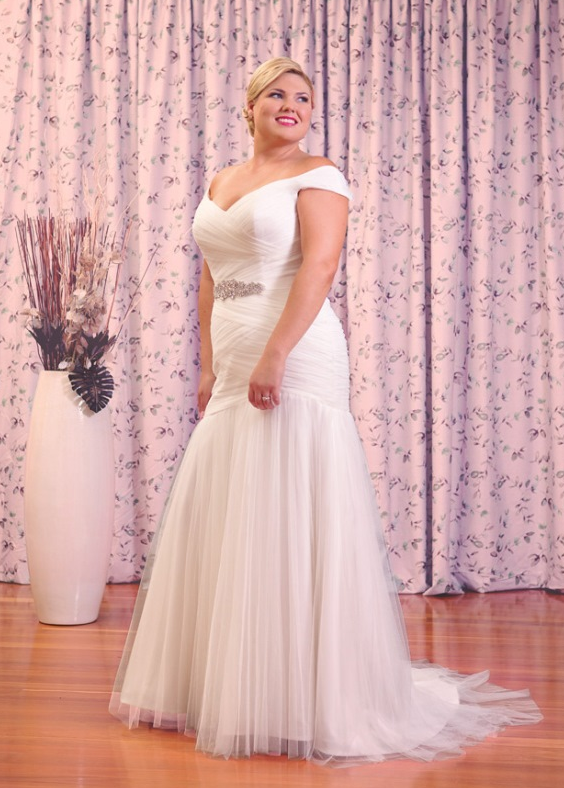 plus size white off the shoulder wedding dress australia