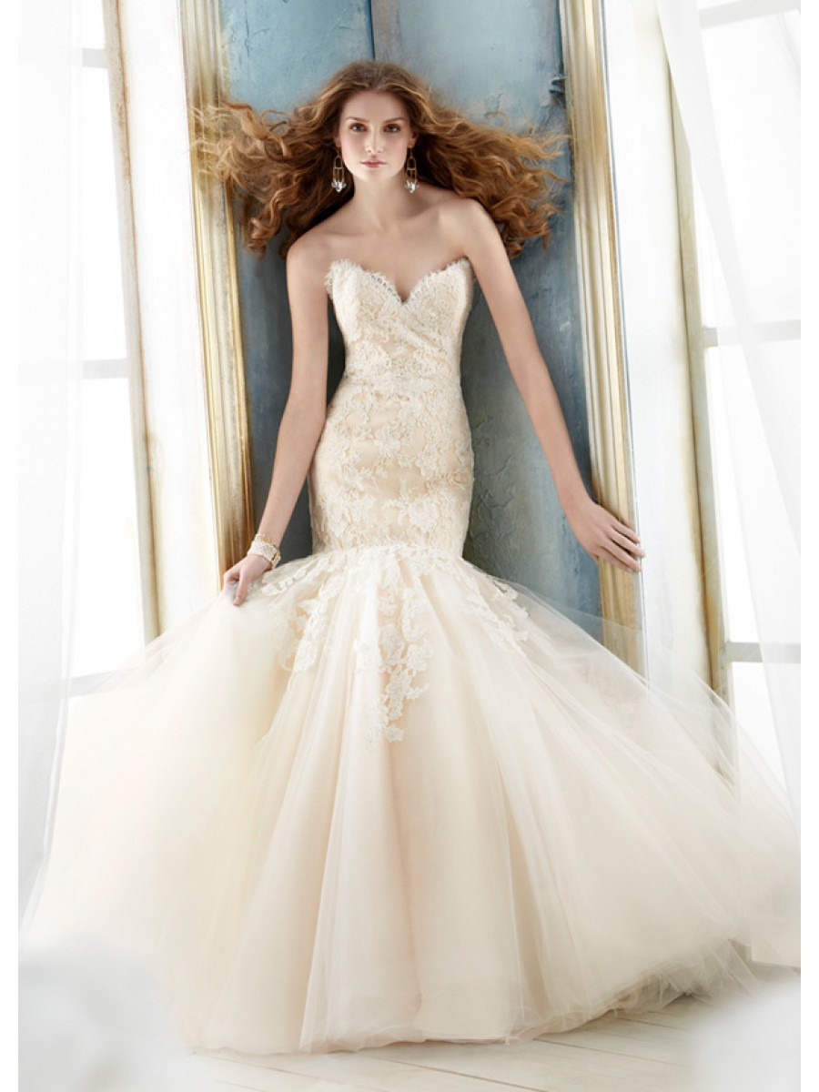 mermaid tulle lace wedding dress with v-neckline