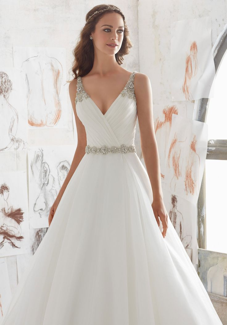 organza wedding dress with deep v-neck