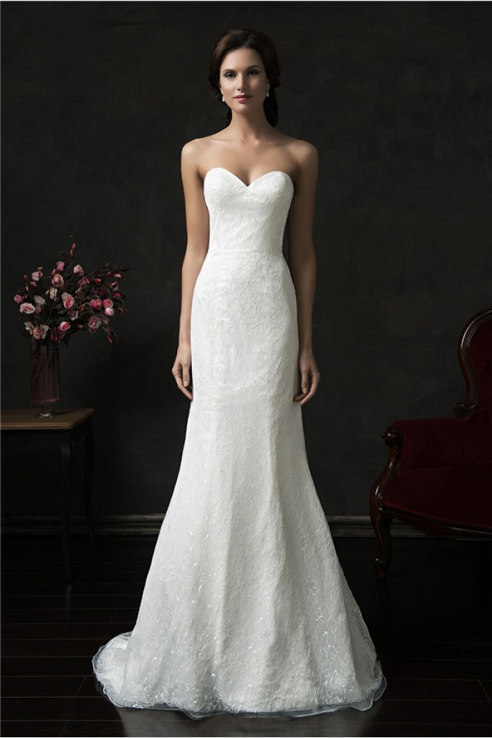 simple strapless tulle wedding dress with beads