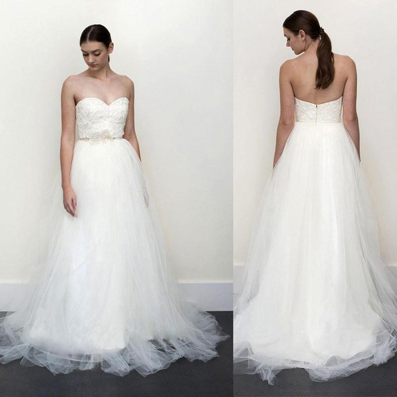 simple tulle wedding dresses with strapless neckline