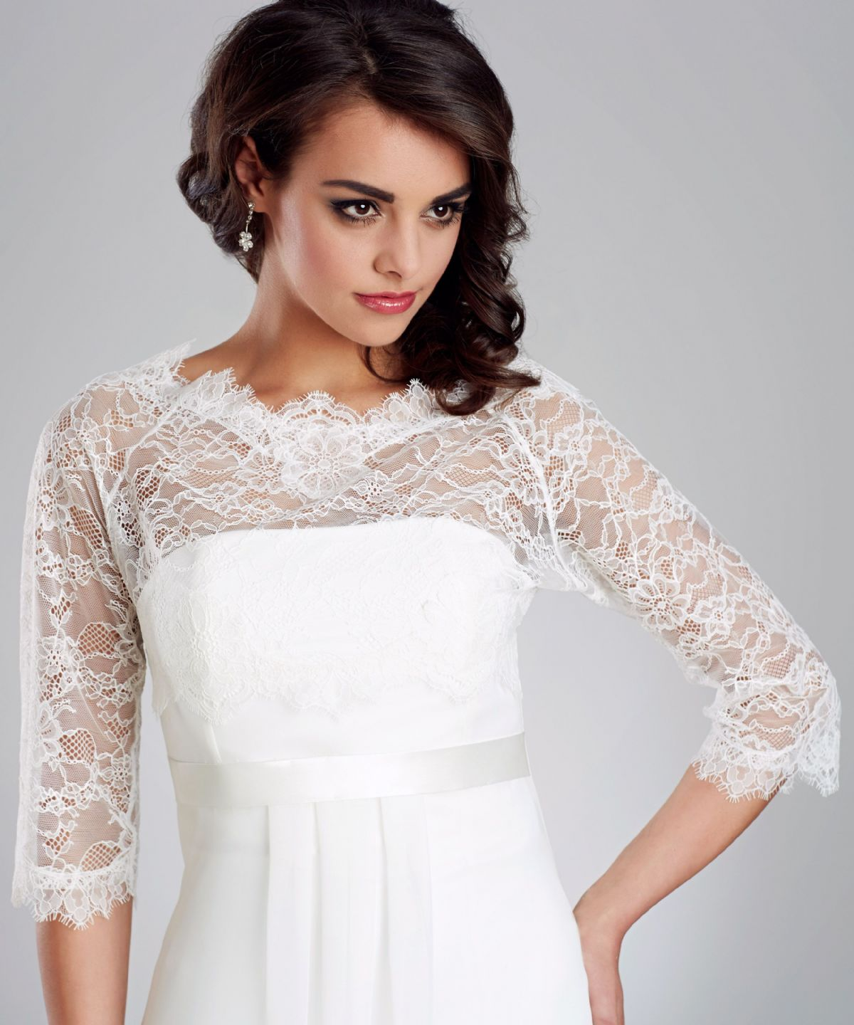 strapless wedding dress with lace jacket and chapel train