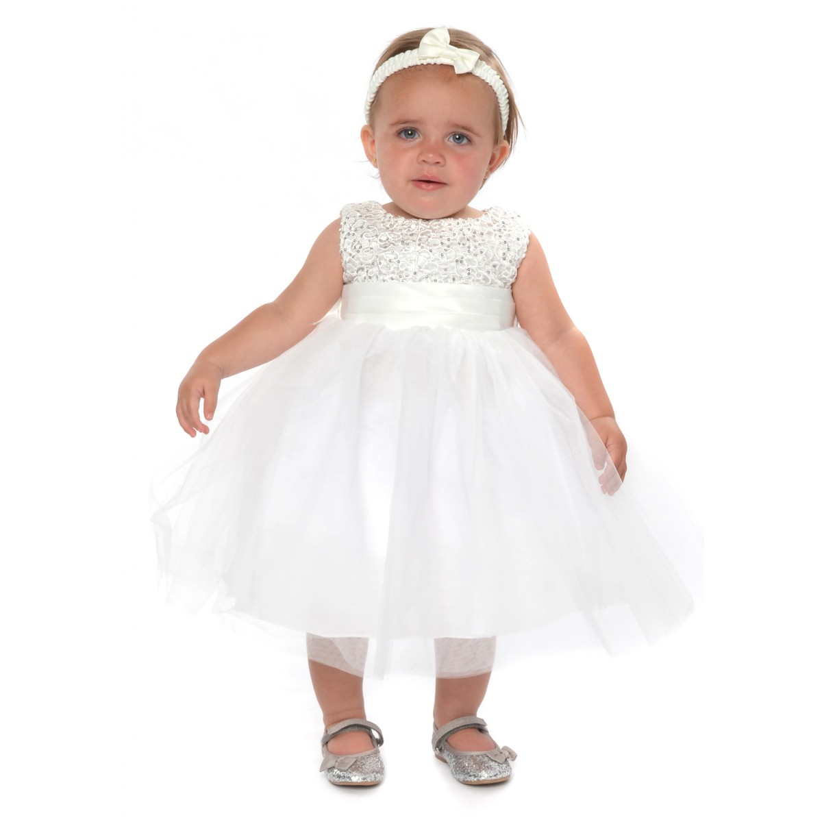white and silver baby wedding dress