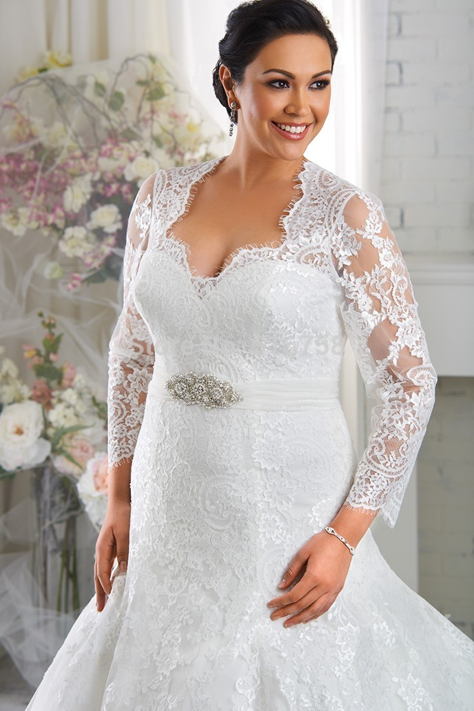 white organza plus size wedding dress with jacket