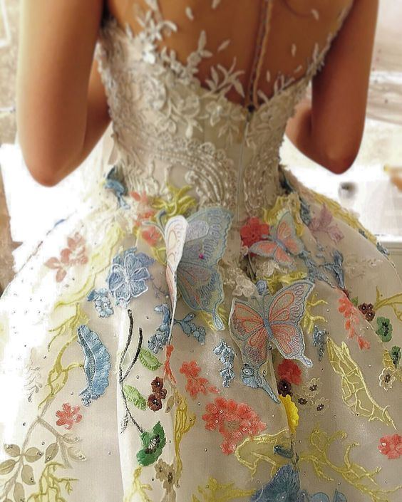 Butterfly Wedding Dress with Open Back