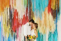 Colorful DIY Streamer Wedding Backdrop