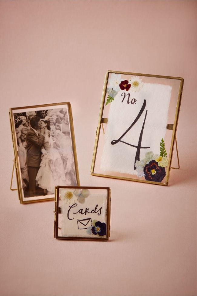 DIY Pressed Glass Frames Wedding Decor