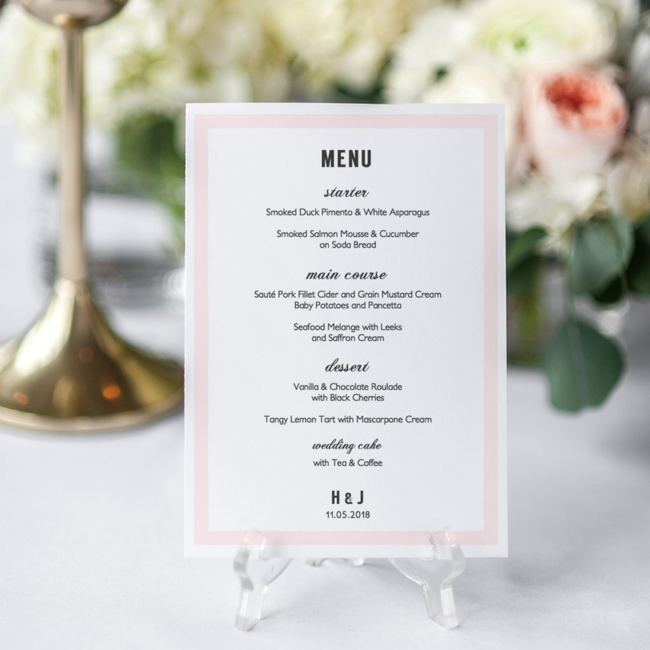 Printable DIY Menu Template Wedding Decor