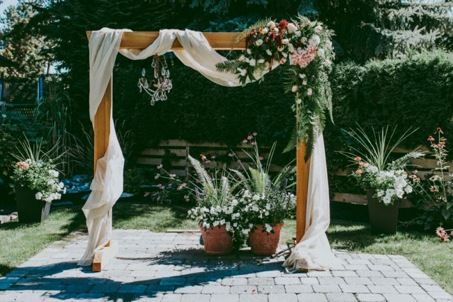 DIY Wooden Fabric Floral Arch