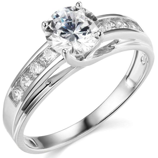 14k Yellow White Gold Solid Engagement Ring