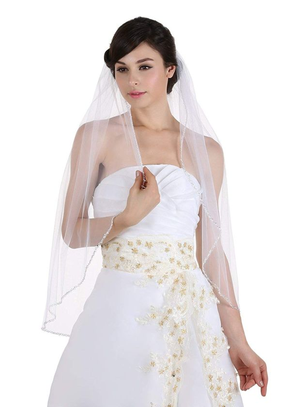 Beaded Wedding Veil With Fingertip Length