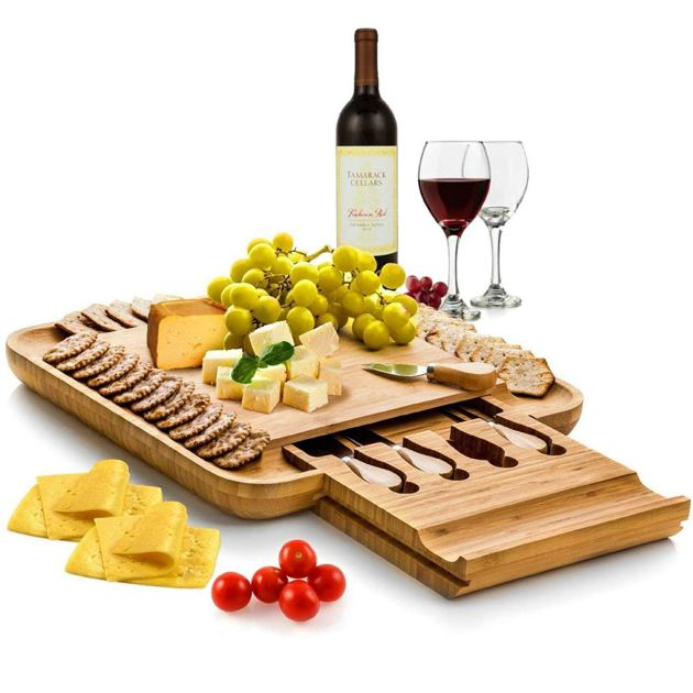 Organic Wood Charcuterie Tray Meat Board with 4 Stainless Steel Knife and Utensils