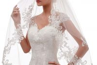 Short 2 Tier Lace Wedding Veil With Comb