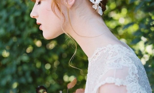 Fully Braided Updo With Lace Floral Trim And Bangs