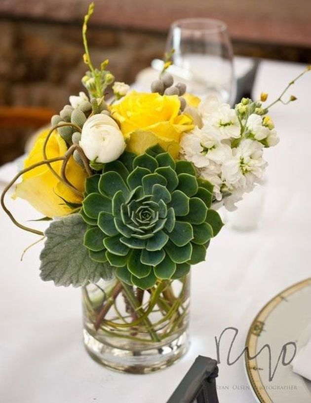 Bright Wedding Centerpiece With A Large Succulent