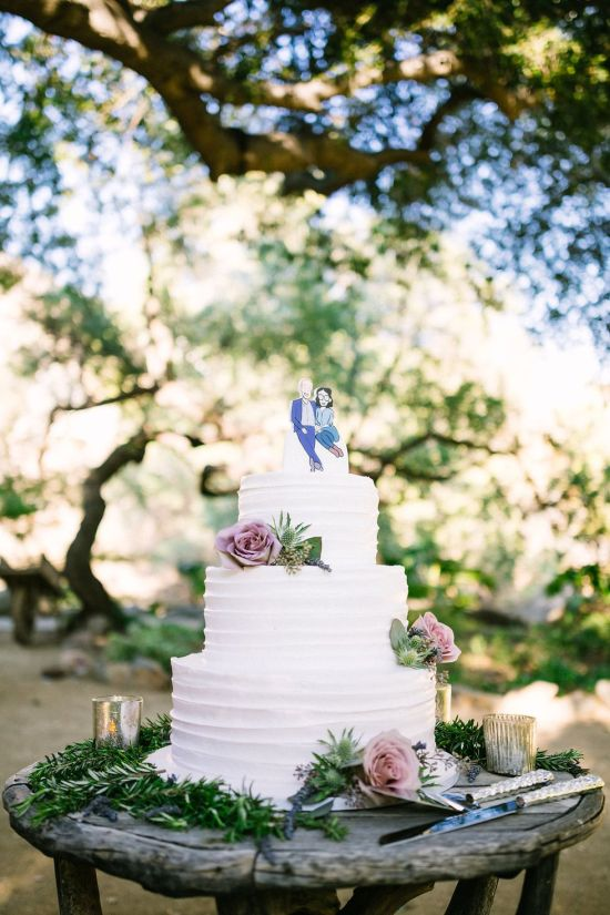 Outdoor Wedding Cake Display For Spring Wedding Decor
