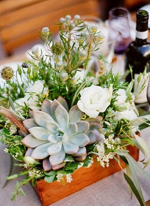 Wedding Centerpiece With A Wooden Box Planter And Pale Succulent