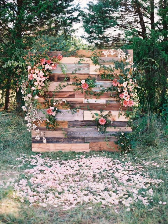 Wood Floral Backdrop Outdoor Wedding
