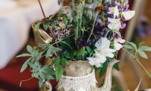 Beautiful Brass Teapot With Bright Blooms Greenery And Vintage Books Plus Lace