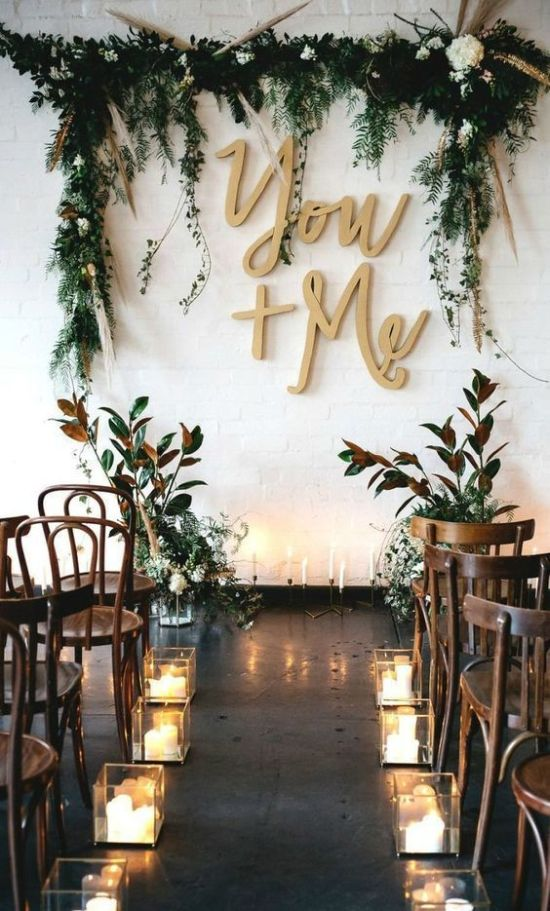Boho Indoor Wedding Backdrop With A Greenery