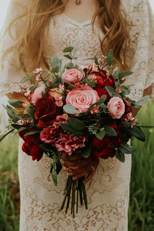 Boho Paper Wedding Bouquet With Pink Burgundy Flowers