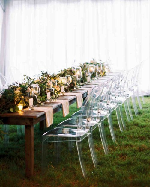Clear Ghost Chairs Added An Unexpected Element To These Otherwise-Familiar Farm Tables