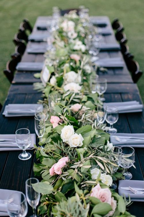 Dark Stained Table Softened With A Lush Greenery And Pink And White Blooms Table Runner