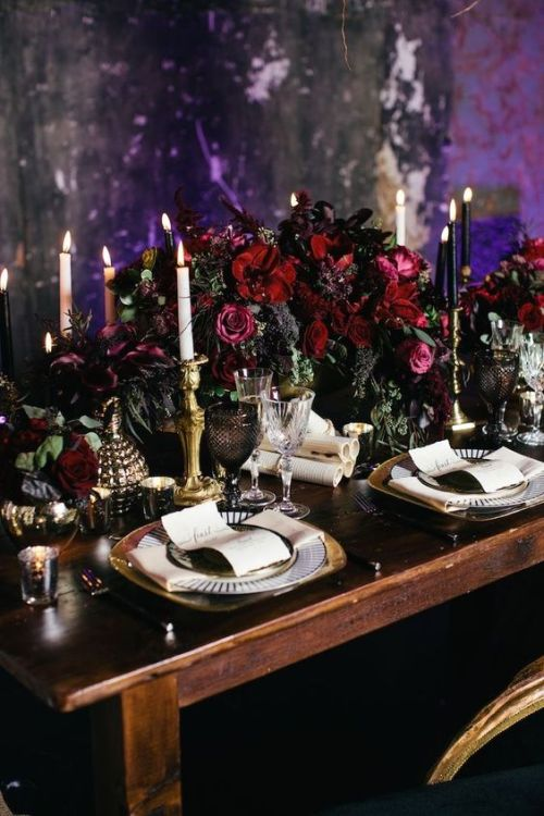 Halloween Wedding Table Setting Ideas With A Luxurious Table Setting With A Lush Dark Floral Centerpiece Plus Black And White Candles And Gilded Touches For Elegance