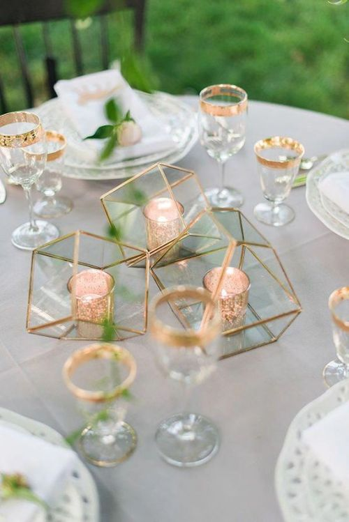 Minimalist Wedding Centerpiece Idea With A Minimalist Wedding Centerpiece Made Of Geometric Gilded Terrariums With Candle Holders Inside