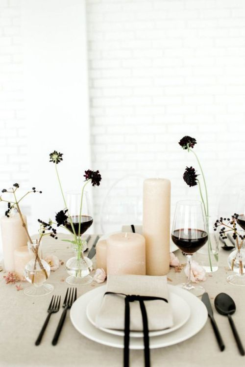 Minimalist Wedding Centerpiece Idea With A Wedding Centerpiece Of Blush Pillar Candles And Dark Blooms In Clear Vases Plus Berries