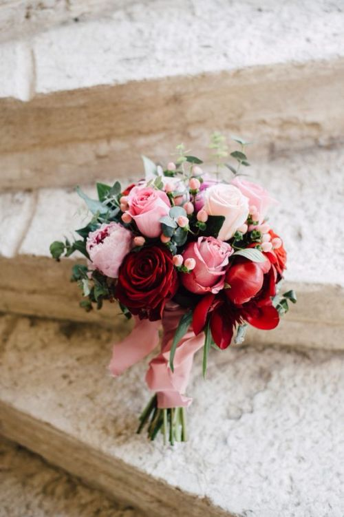 Paper Red Pink Rose Wedding Flowers