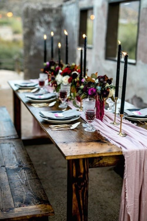 Uncovered Table Is Softened With A Pink Table Runner And Spruced Up With Gold Candle Holder