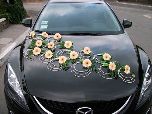 Wedding Car Decoration Ideas With Sun Flowers