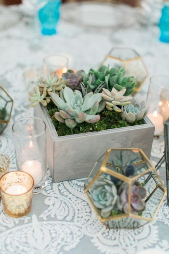 A Concrete Box With Moss And Succulents For A Modern Wedding Centerpiece