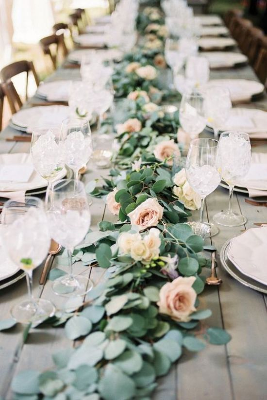 A Stylish Eucalyptus And Blush Roses Table Runner Is Classics That Will Never Go Out Of Style