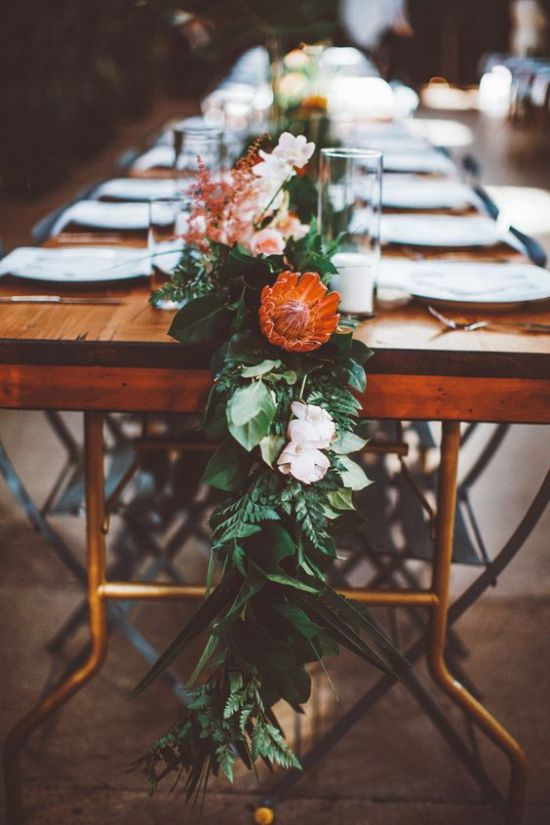 Lush Organic Table Runner Of Greenery Plus Blush Blooms And King Proteas