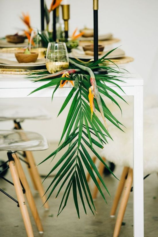 Tropical Wedding Runner With Palm Leaves And Flowers For A Modern Wedding