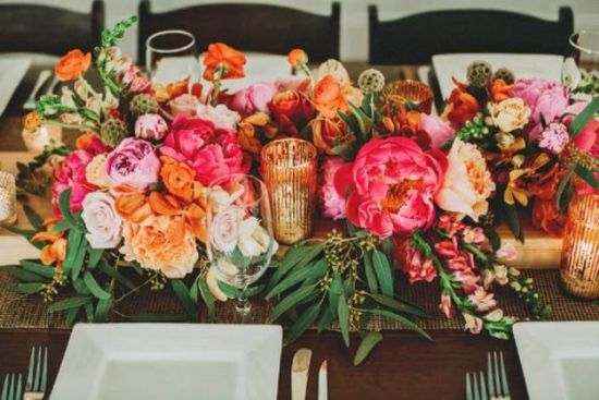 Very Colorful And Vibrant Blooming Table Runner In Pink With Orange And Blush And Yellow With Some Greenery Touches