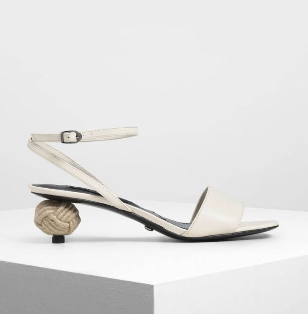 Charles & Keith Spherical Heel Leather Sandals