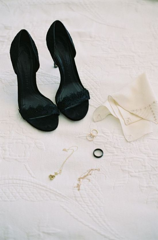 Black Lace Wedding Heels
