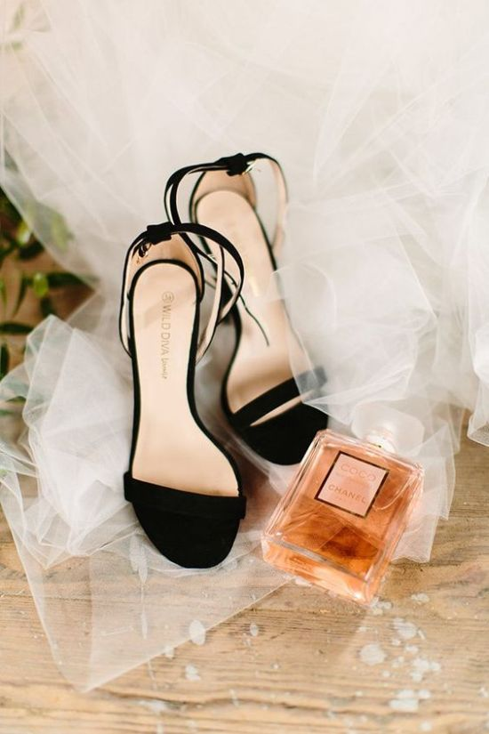 Black Velvet Heeled Wedding Sandals