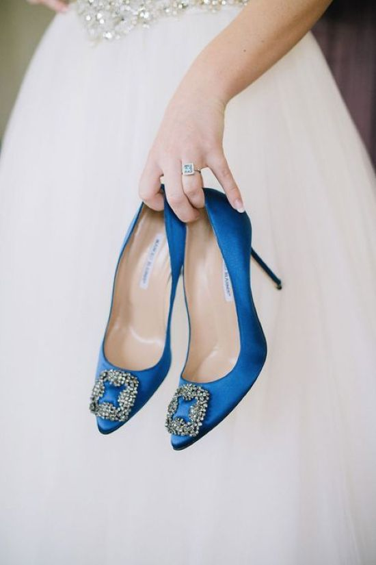 Blue Manolo Blahnik Shoes With Large Buckles