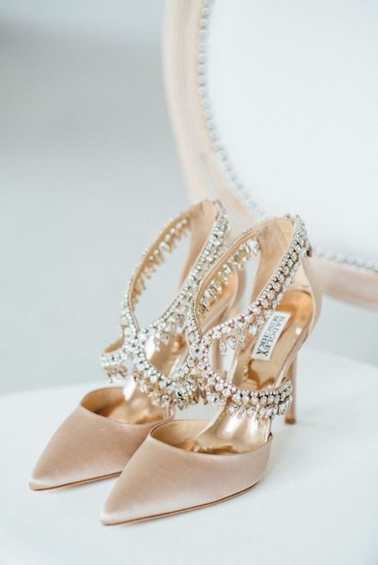 Blush Velvet Wedding Shoes With A Lot Of Embellishments For A Wow Effect