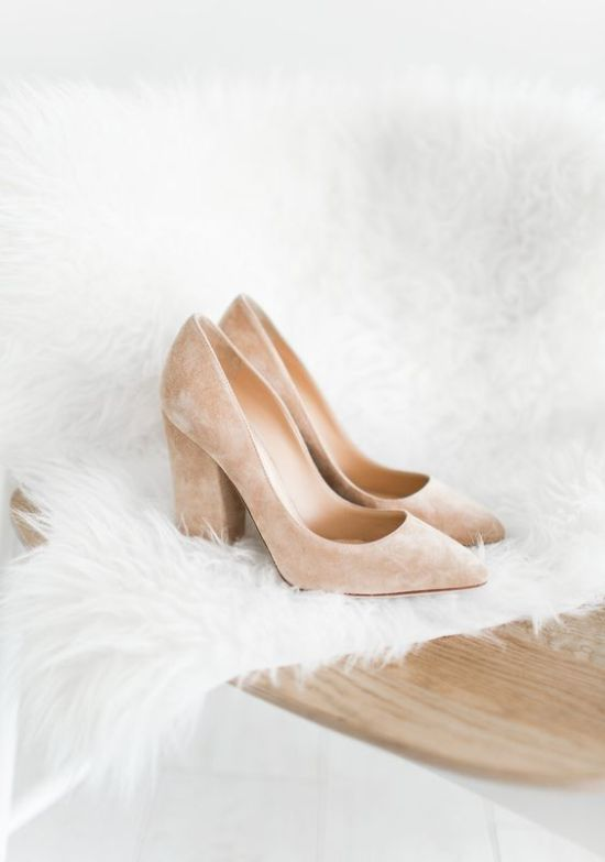 Blush Wedding Suede Block Heels