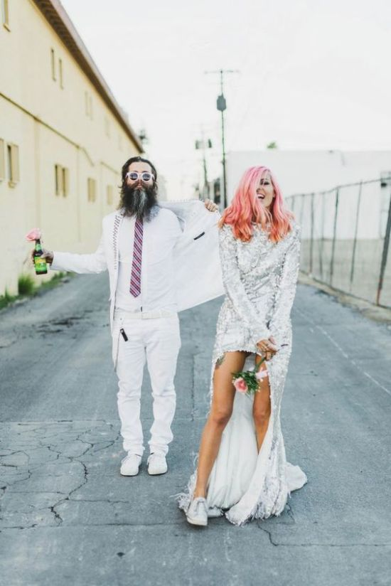 Bridal Sneakers Idea: Couple Wearing Crazy Outfits And White Sneakers