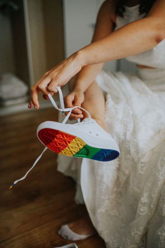 Bridal Sneakers Idea: White Sneakers With Rainbow Bottoms