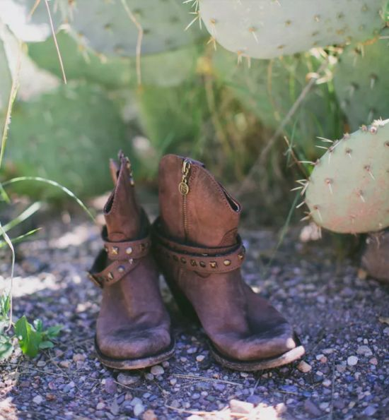 Brown Studded Cowboy Wedding Boots