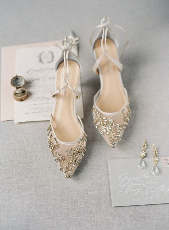 Chic Nude Wedding Shoes With Gold Rhinestones And Straps For An Ethereal Look